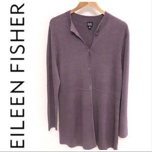 Eileen Fisher Silk Blend Long Lavender Cardigan M